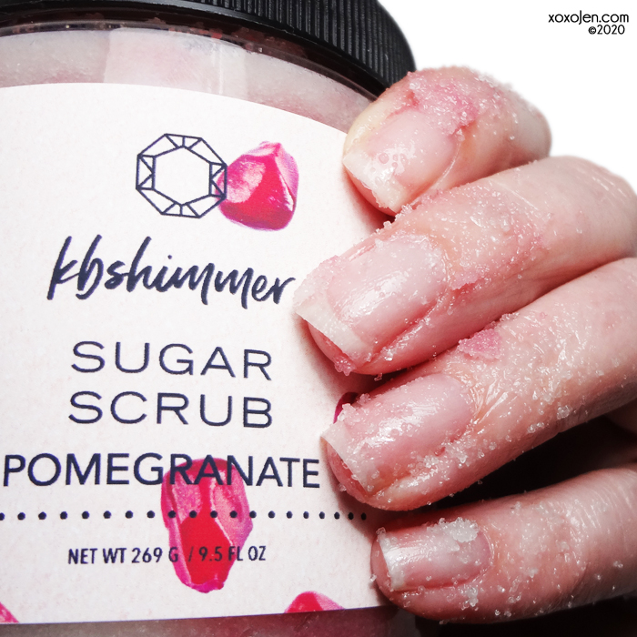 xoxoJen's swatch of KBShimmer Pomegranate Scrub