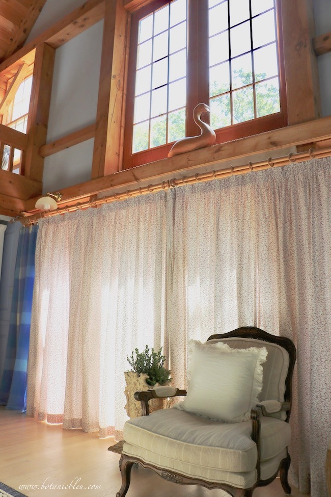 Summer French Country Living Room Closed Curtains
