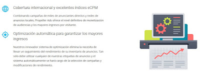 Características PropellerAds para editores