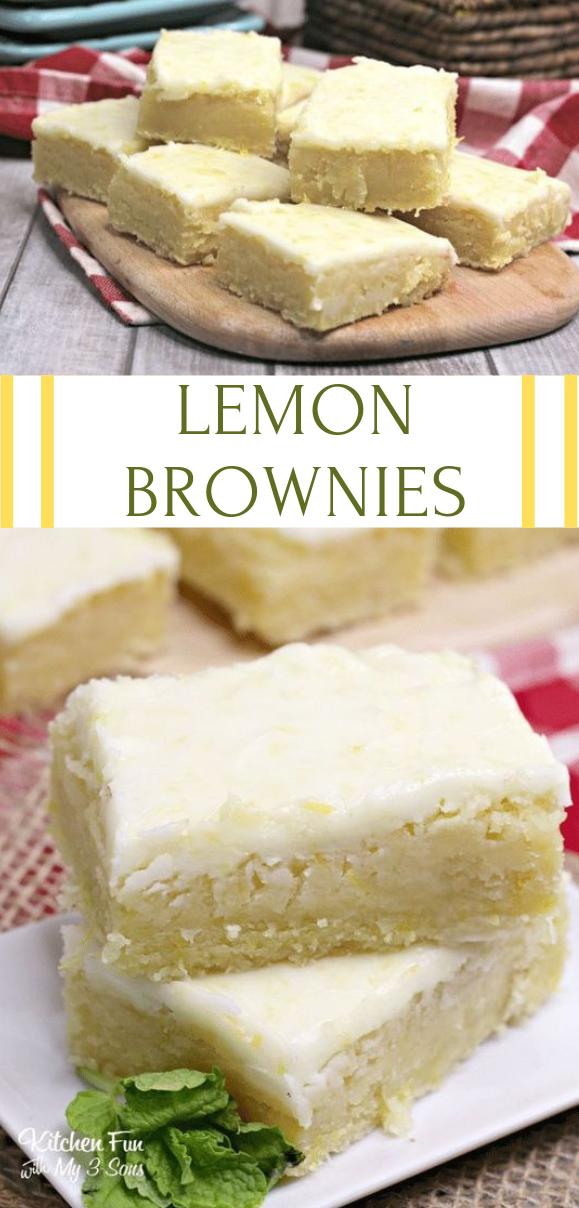LEMON BROWNIES #dessert #cake