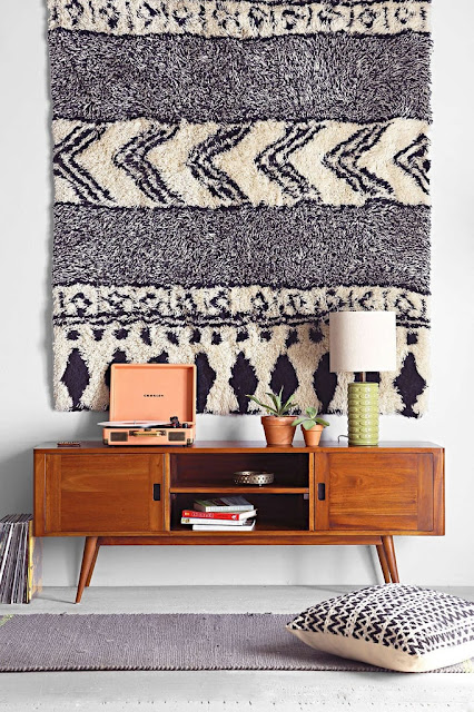 Bohemian boho rug as a woven wall tapestry