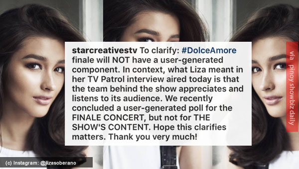 Star Creatives clarifies Liza Soberano's interview on TV Patrol with regards to Dolce Amore finale