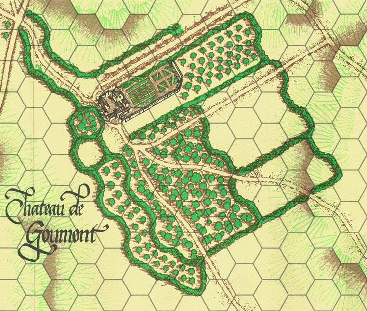 A map of Hougoumont from the game La Bataille de Mont Saint Jean published by Clash of Arms