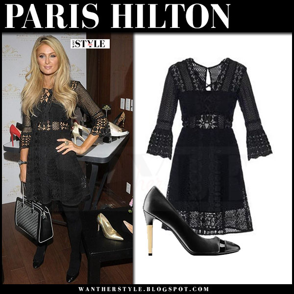 Paris Hilton in black lace mini dress self portrait what she wore