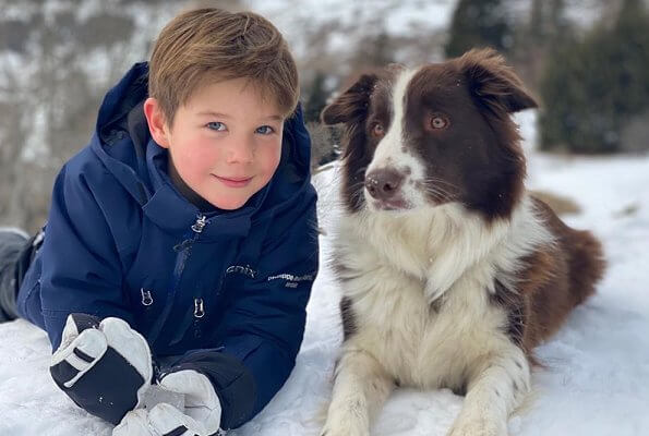 Prince Christian, Princess Isabella, Prince Vincent and Princess Josephine in Switzerland. family's dog Grace