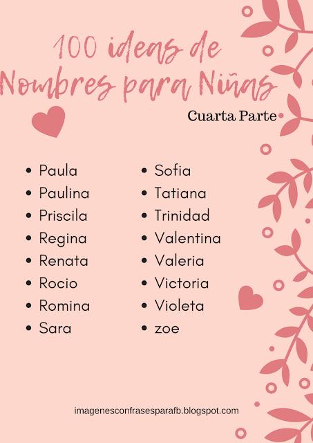 100 Ideas de Nombres para Niñas