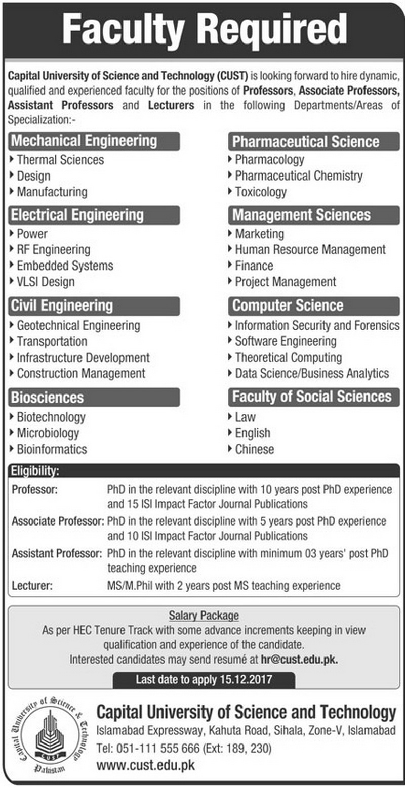 Lecturers Jobs in Capital University of Science & Technology Islamabad