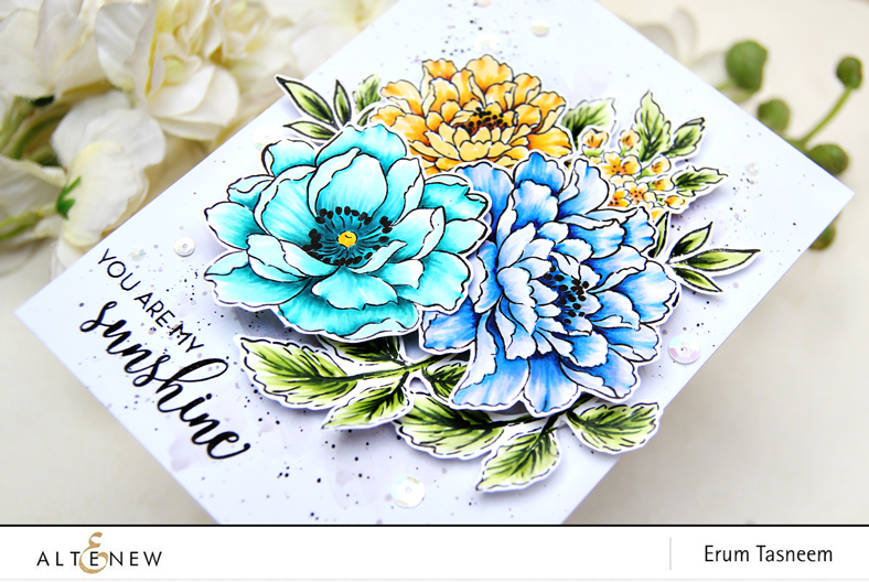 Altenew Beautiful Day | Coral Charm | Peony Bouquet | Remember This | Coloured with Artist Markers | Erum Tasneem | @pr0digy0