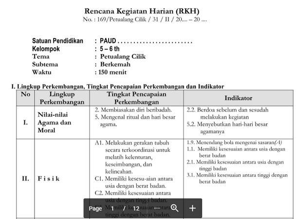 RKH PAUD 5-6 Tahun Tema Petualang Cilik Kurikulum 2013