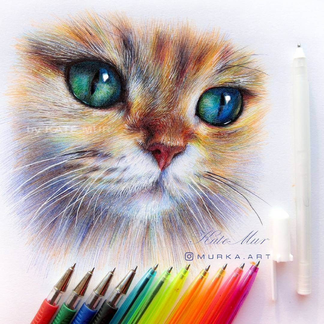 06-Ginger-Kitten-Kate-Mur-Animal-Art-with-Pencil-Ballpoint-Pen-and-Paint-www-designstack-co