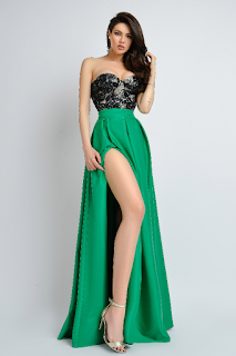 Rochie lunga de ocazii verde cu corset negru paietat