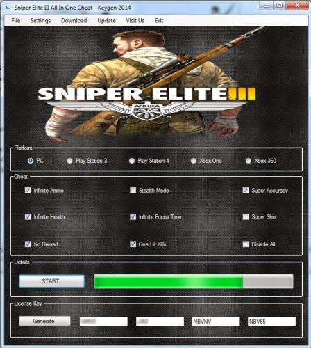 Sniper Elite 3 Cheats