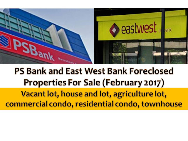 "Are you looking for a new property this year? You may want to consider buying a foreclosed properties or bank-owned properties. Foreclosed properties are often discounted in prices. The following ""properties for sale"" are taken from PS Bank and EastWest Bank website. This includes residential, agricultural lots, house and lots, condominium properties, townhouse, and many other. If you are lucky enough, you may be able to purchase a house or any property at a lower than a market value price."
