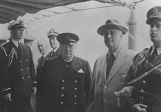 President Roosevelt and Prime Minister Churchill at Placentia Bay, 9 August 1941 worldwartwo.filminspector.com