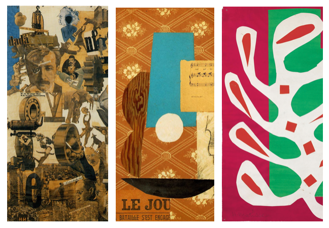 Hannah Höch, Cut With The Kitchen Knife, Dada Through The Last Weimar Beer-Beely Cultural Epoch In Germany, Pablo Picasso, Guitar, Sheet Music and Glass, Henri Matisse, gouaches découpés