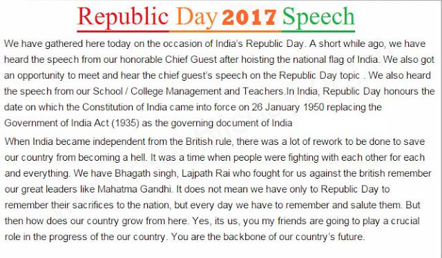 Republic Day Speech Essay Poems Slogans in English