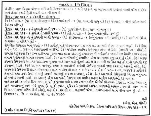 ICDS Vijaynagar Recruitment 2016 for Anganwadi Worker and Helper Posts