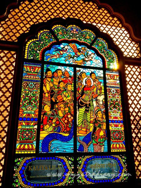 Kaliya Lila stained glass window vedic art - ISKCON Jaipur Rajasthan
