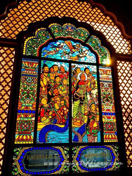 Kaliya Lila stained glass window vedic art - ISKCON Jaipur Rajasthan