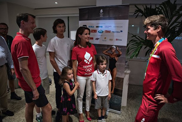 Prince Joachim of Denmark, Princess Marie of Denmark and their children Prince Nikolai, Prince Felix, Princess Athena and Prince Henrik congratulated Danish cyclist Jakob Fulgsang