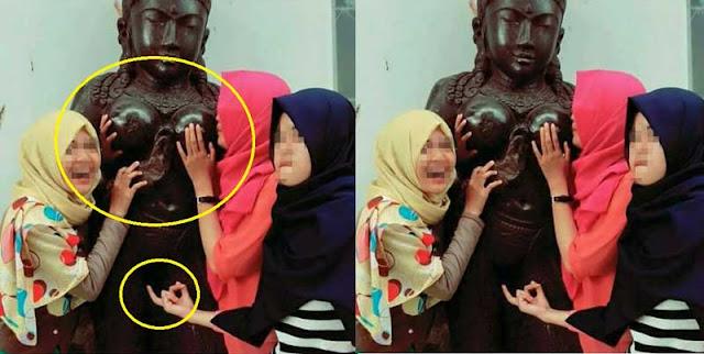 Selfie bareng patung, ekspresi mesum Tiga cewek berjilbab ini dikecam Banyak Orang