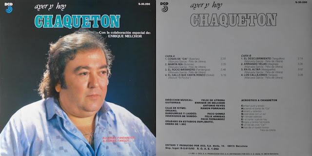 """ÓN, ENRIQUE DE MELCHOR """"AYER Y HOY"""" DCD LP ÚLTIMO DISCO DE VINILO DEL CANTAOR GADITANO"""