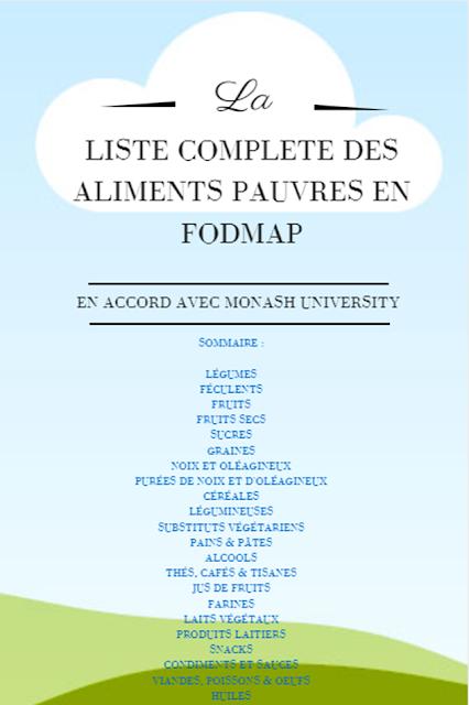liste aliments pauvres en FODMAP Monash University