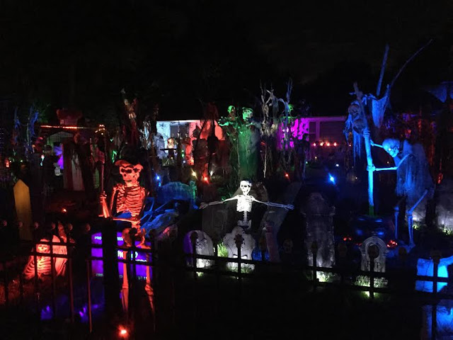 Elaborate Halloween display on Drury Lane in Arlington Heights, IL