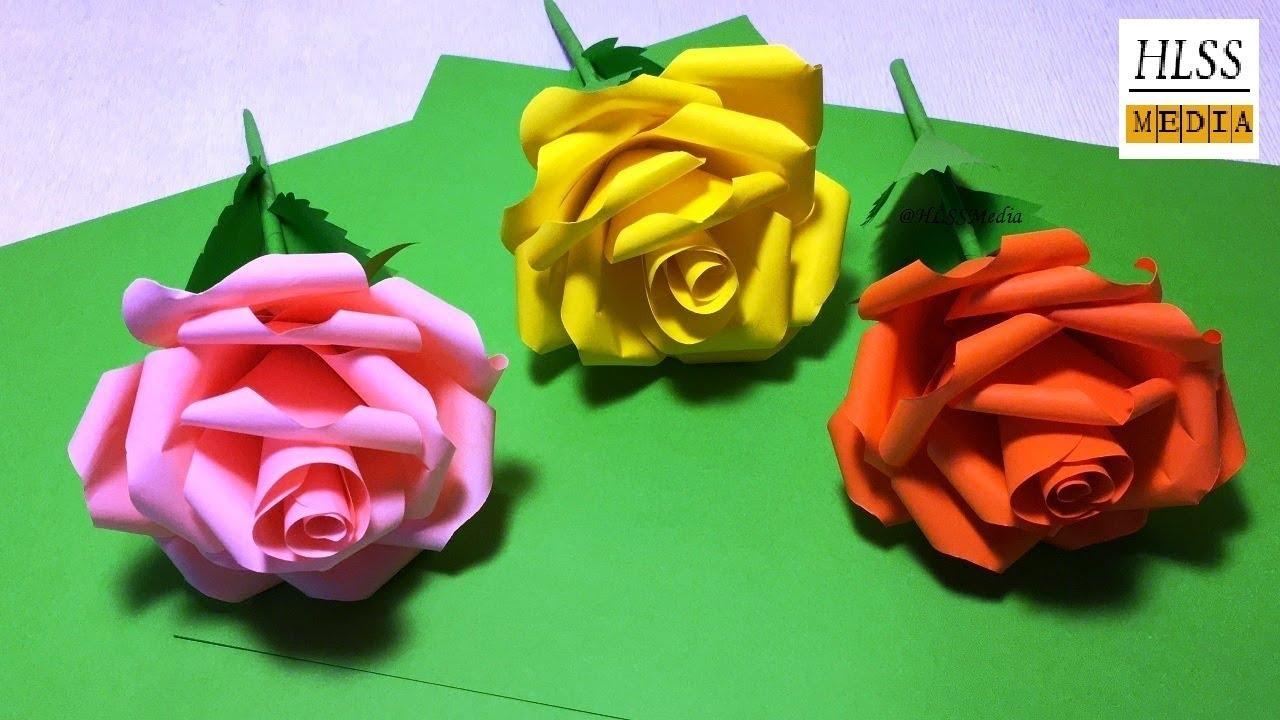 Diy rose paper flower how to make rose paper flower easy hlss media how to make rose paper flower easy diy rose paper flower video tutorials mightylinksfo