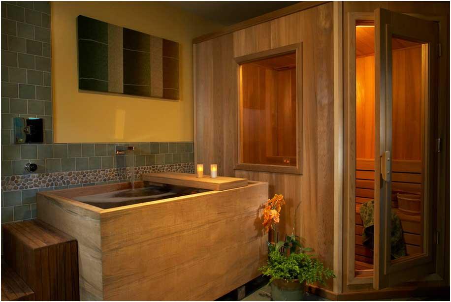 Bild Japanisches Badezimmer Einrichten Traditionelle Hölzerne Sauna Und