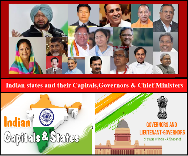 List of Indian states and their Capitals,Governors & Chief Ministers 2018-19