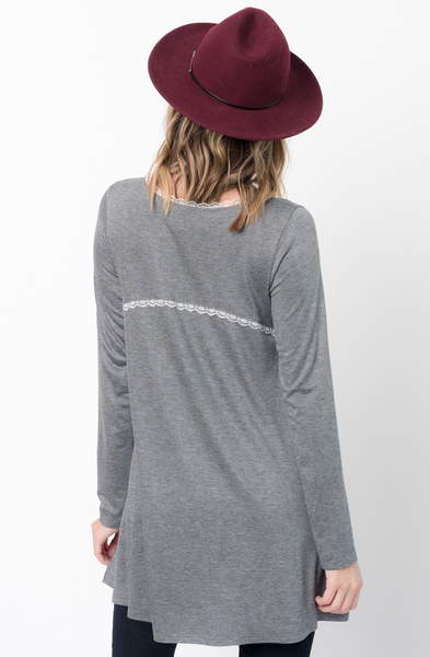 Buy Now Charcoal Lace Trim Long Sleeve Jersey Top Tunic Online - $34 -@caralase.com