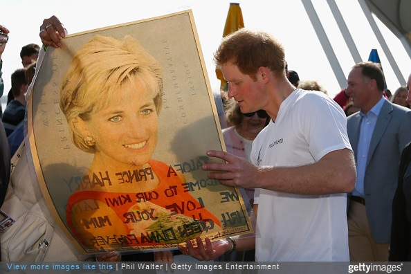 Prince Harry to meets with fans and Auckland public during a walkabout outside The Cloud on May 16, 2015 in Auckland, New Zealand. Princess Diana