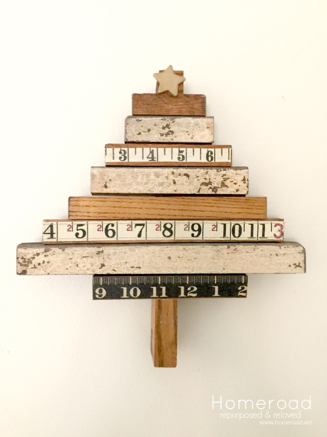 Christmas tree made with scrap wood and rulers