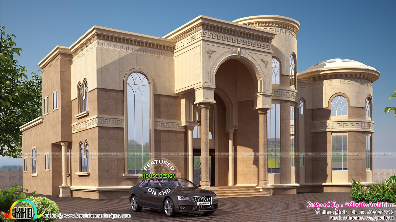 Arabian model house elevation kerala home design and for Arabic home design