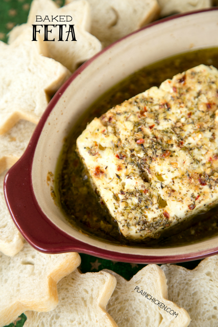 Baked Feta - feta marinated in olive oil, red pepper flakes, lemon zest, garlic, pepper, oregano and baked. SO easy and SOOOO delicious! Great for parties! Serve with french bread slices or pita chips.