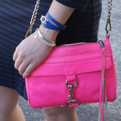 navy stripe dress with cobalt bracelet and neon pink Rebecca Minkoff mini MAC | AwayFromTheBlue