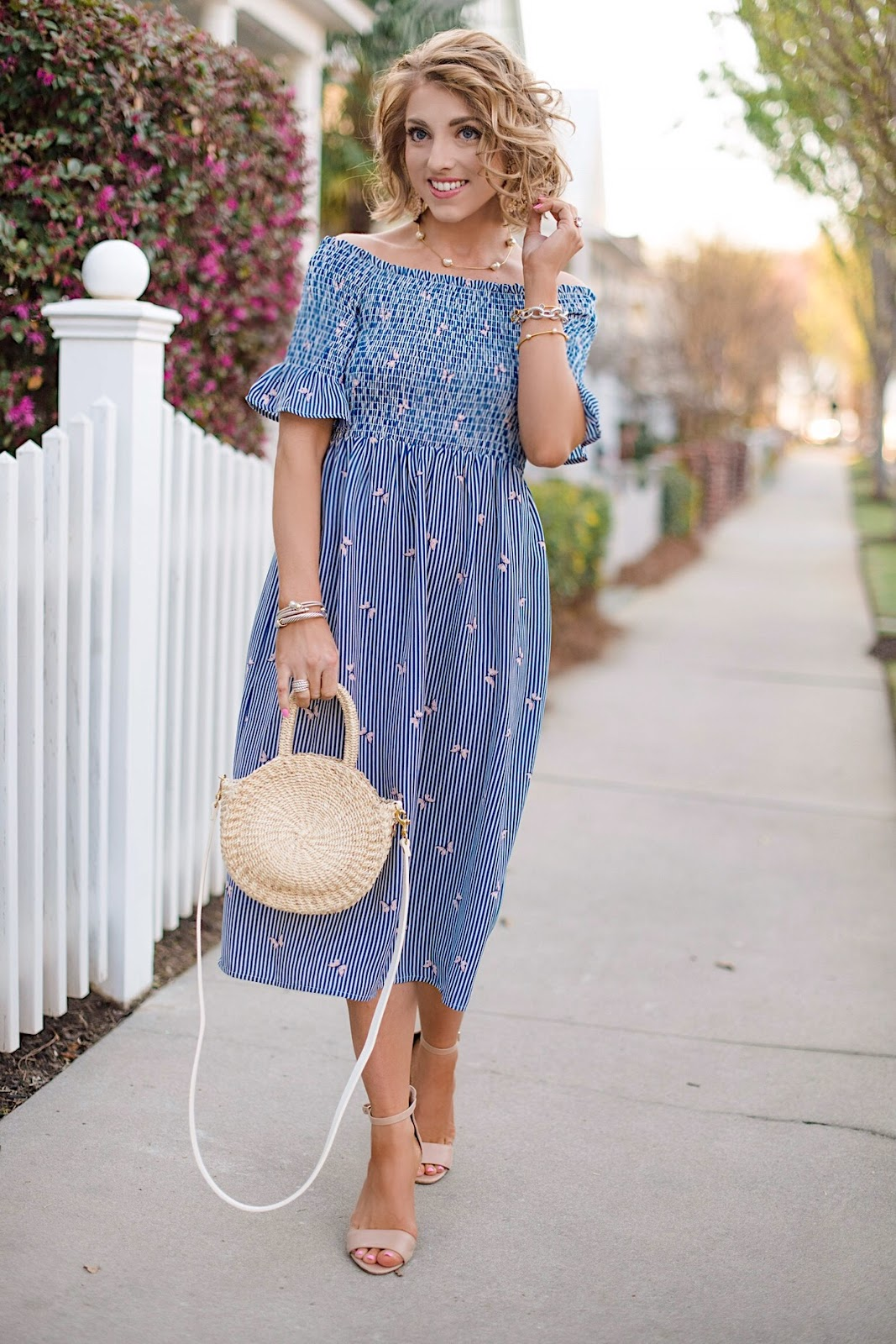 Butterfly Print OTS Midi Dress (Under $60) - Something Delightful Blog