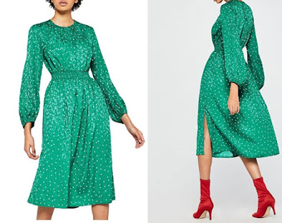 vestido verde fruncido