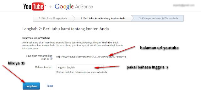 lanjutkan google adsense