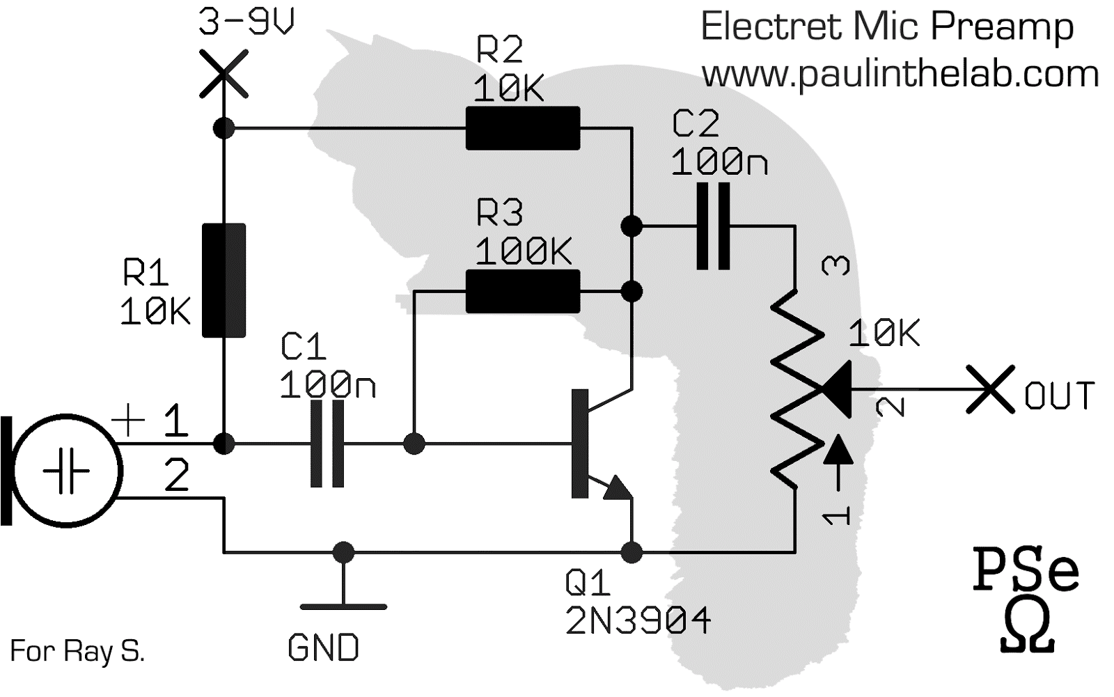 Electret Microphone Preamp Circuit Schematic Electrical Diagram Dynamic Mic Preamplifier Paul In The Lab Stripboard Layout Line Amp