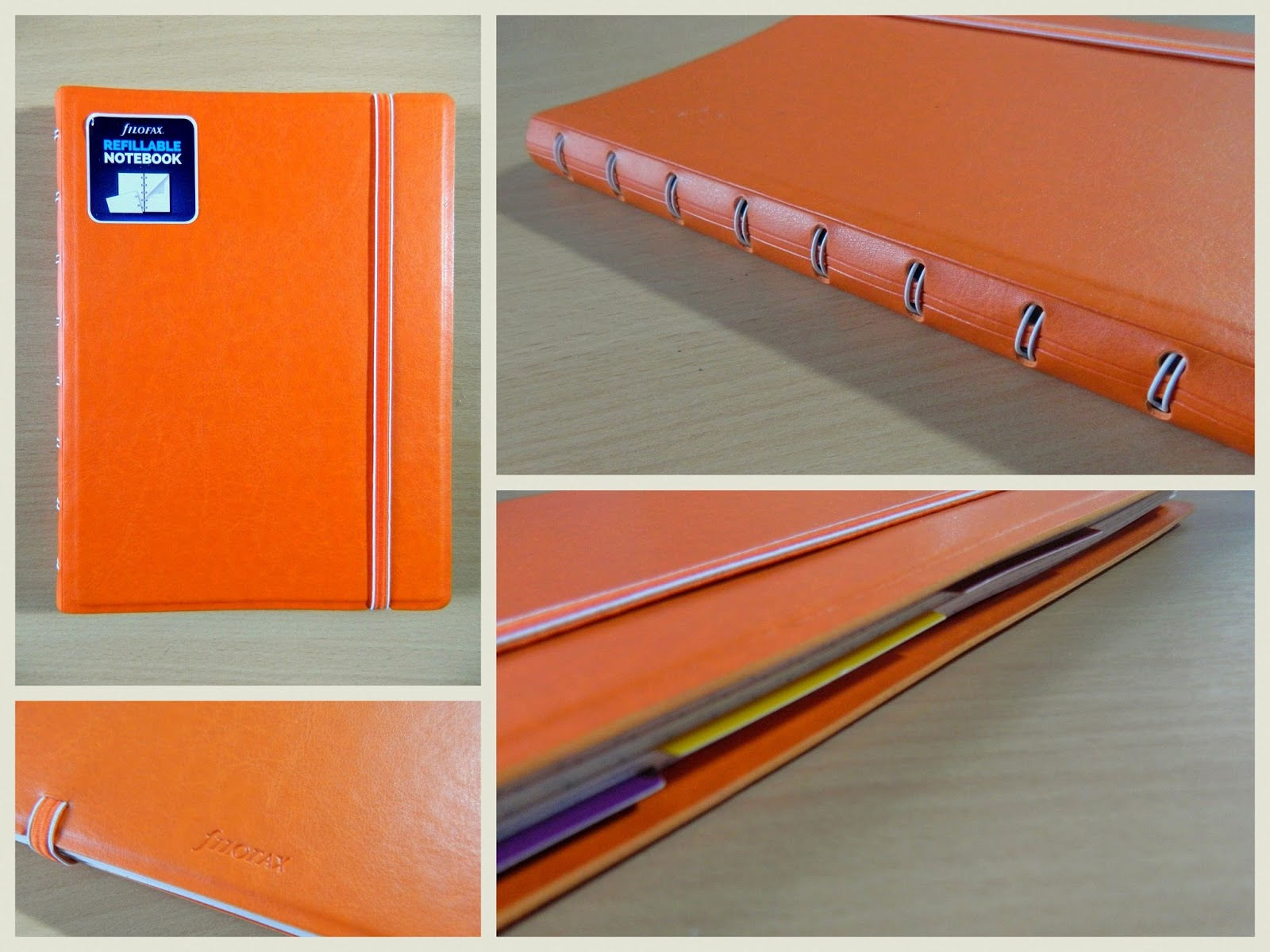 Filofax Refillable Notebook in orange, collage,