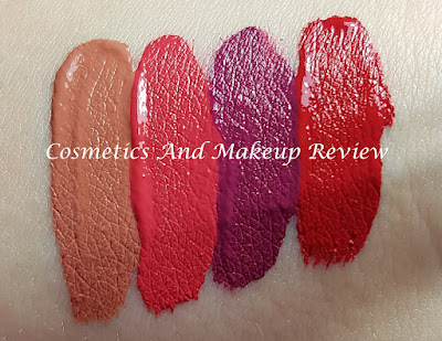 Nabla - Love kit - swatches - da sinistra a destra: Blair - After Rain - Status Single - Acrylic Love
