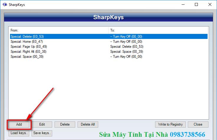 SharpKeys - Phần mềm đổi chức năng bàn phím