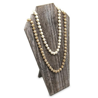 The Wooden Jewelry Display Bust with Easel in Coffee from Nile Corp is ideal for rustic gold jewelry