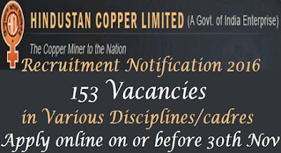 Hindustan Copper Ltd Recruitment 2016