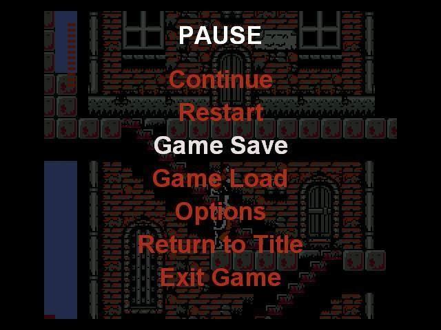 menu de pausa de Konami Collector's con opción de guardado.