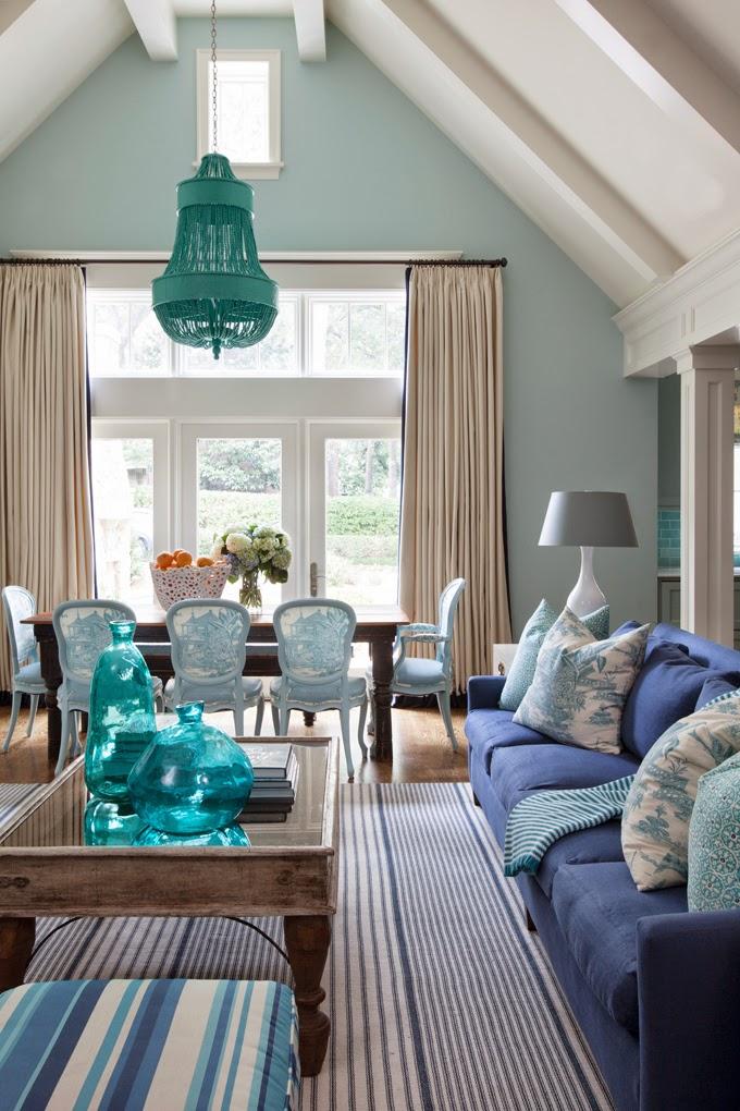 дневник дизайнера: Красивый интерьер дома от Tobi Fairley Бирюзовая Гостиная