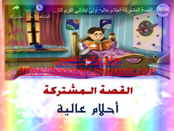 شرح  بالصوت والصورة قصة أحلام عالية لغة عربية للصف الأول الابتدائي ترم ثاني 2019