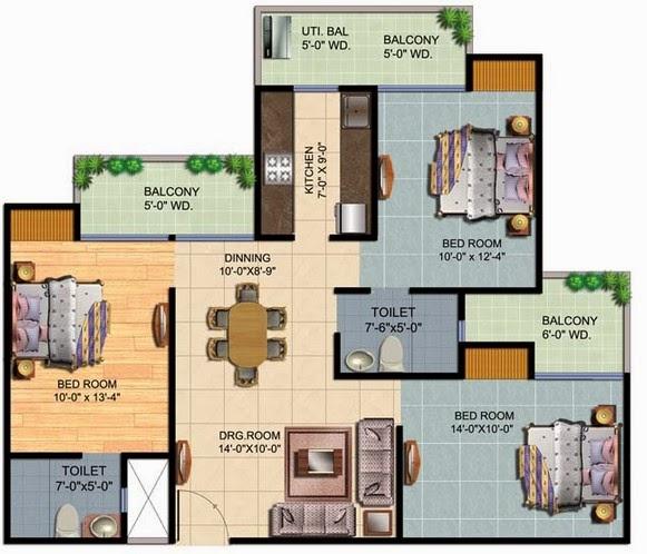 contoh denah rumah sederhana 3 kamar tidur kumpulan